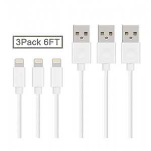 Quntis(TM) 6ft Lightning to USB Charging Sync Cable for iPhone 6 6Plus 6S 5 5S iPad Air iPad Mini iPad 5 etc with Newest IOS 3 Pack (White)