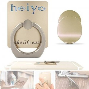 Phone Holder, Heiyo? Car Mount Finger Grip Desk Stand, Compatible with All Phones and Tablets (Gold)