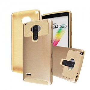 Deego LG G Stylo / LG G Stylus (LS770) Case, Hybrid Armor Dual Layer Rugged Hard Protective Case Cover For for LG G LS770 (Gold+Cream)