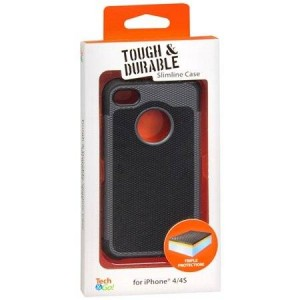 Tech * Go! Tech and Go! Tough and Durable Slimline Case for iPhone 4 / 4S (Black and Grey)