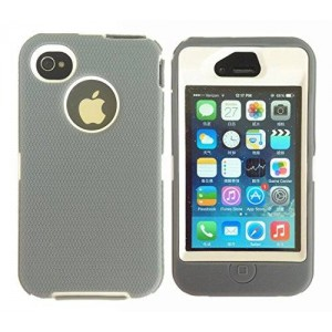 iPhone 4 4s Rugged Case with Built-in Screen Protector and Belt Clip , Dedender Style Heavy Duty Case for Apple iPhone 4 4s (Gray on White)