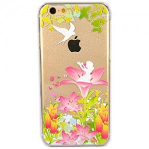iPhone 5/5S Case, SwiftBox Cute Cartoon Case for iPhone 5S 5 + Tempered Glass Screen Protector (Fairy and Bird)