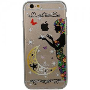 iPhone 5/5S Case, SwiftBox Cute Cartoon Case for iPhone 5S 5 + Tempered Glass Screen Protector (Moon Goddess)