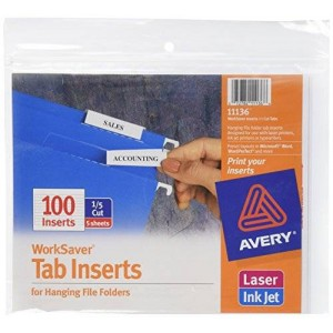Avery WorkSaver Tab Inserts, 2 Inches, White, 100 Inserts (11136)
