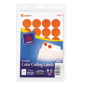 Avery Print/Write Self-Adhesive Removable Labels, 0.75 Inch Diameter, Orange, 1008 per Pack (5465)
