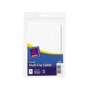 Avery Self-Adhesive Removable Labels, 0.625 x 0.87 Inches, White, 1050 per Pack (05424)