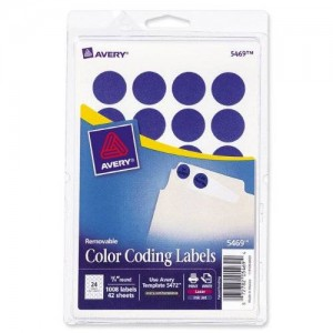 Avery Print/Write Self-Adhesive Removable Labels, 0.75 Inch Diameter, Dark Blue, 1,008 per Pack (5469)