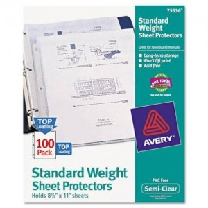 Avery 75536 Easy load top load standard polypropylene sheet protectors, semi-clear, 100/box