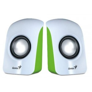 Genius SP-U115 Stereo USB Powered 2.0 Speakers White with 1.5W Output and 3.5mm Audio Plug, White (SP-U115)