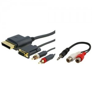 Importer520 Compatible with Xbox 360 HD VGA AV Cable + RCA To 3.5MM Adapter