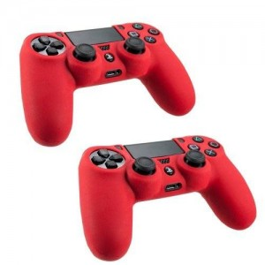 SlickBlue 2 Pack Flexible Silicone Protective Skin Case For Sony PS4 Game Controller - Red [PlayStation 4]