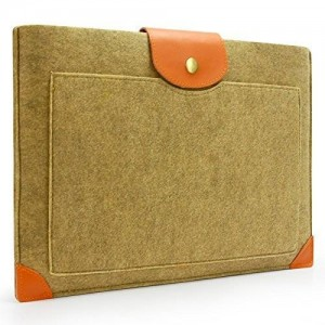 Sinoguo Camel Color Felt and Leather Case Sleeve Pouch for 13 Inch Macbook Air Pro Retina