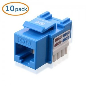 Cable Matters 10-Pack Cat6 RJ45 Punch-Down Keystone Jack in Blue