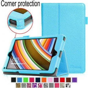[Corner Protection] Fintie Lenovo Thinkpad 8 Folio Case - Premium Leather Cover with Auto Sleep / Wake Feature (Only Fit Lenovo Thinkpad 8.3-Inch Windows 8.1) - Blue