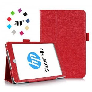 HP Slate S7-4200US 7-Inch Case Cover, FYY Premium Soft Folio Leather Case for HP Slate S7-4200US 7-Inch Red (With Auto Wake/Sleep Feature)