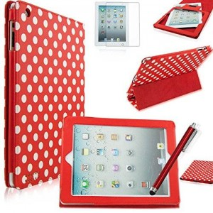 Fulland APPLE IPAD 2 3 4 Slim PU Leather Cover Case with 3-FOLD STAND And SMART SLEEP WAKE Plus Stylus Pen and Screen Protector-red white dot