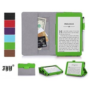 "[Corner Protection] Kindle, 6"" case, FYY Classic Slim Fit Folio Leather Case for Kindle, 6"" Glare-Free Touchscreen Display 2014 Green"