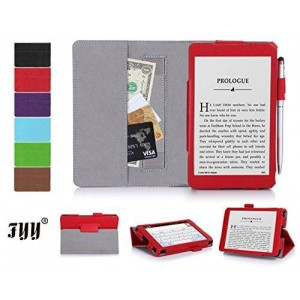 "[Corner Protection] Kindle, 6"" case, FYY Classic Slim Fit Folio Leather Case for Kindle, 6"" Glare-Free Touchscreen Display 2014 Red"