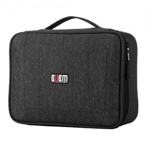 BUBM Large Electronic Accessories Carrying Bag with Cable Tie- Black