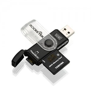 Rocketek USB 3.0 Memory Card Reader with a Build-in Card Cover and 3 Slots Mini SD Card Reader for Mini SD Card