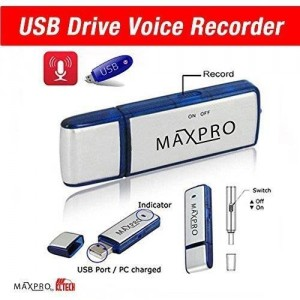 MAXPRO -Best USB Flash Drive- USB Voice Recorder- Memory Stick- Thumb Drive- Dictaphone- 8GB- Pendrive - Compatible with Windows, Mac, PC- 1 Year