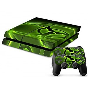 Mod Freakz Parental Advisory Designer Vinyl Skin for Gaming Console and Free Controller Sticker Decal for PS4 (Glow Green Biohazard)