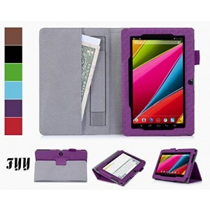 [Corner Protection] Dragon Touch Y88/Y88X CaseCove, FYY Classic Slim Fit Folio Leather Case for Dragon Touch Y88/Y88X Purple