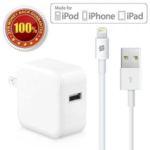 iPhone Charging Sync Data Cord 3ft and Wall Adapter Bundle Apple MFI Certified Original USB Cable for iPhone 6/Plus/5S/C/5, iPad Air/Mini