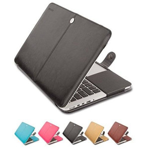 """Mosiso MacBook Pro 13 Sleeve, Premium PU Leather Folio Case Cover for MacBook Pro 13.3"""" (A1278 with or without Thunderbolt) Aluminum Unibody with CD-ROM Drive, Black"""