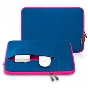 """Runetz - 12-inch Navy Blue Neoprene Sleeve Case Cover for The New MacBook 12"""" with Retina Display and Laptop 12"""" - Navy Blue-Pink"""