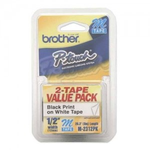 Brother Printer P-Touch M2312PK M Series Tape Cartridges for P-Touch Labelers, 1/2w, Black on White, 2/Pack (BRTM2312PK)