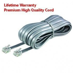 Premium High Quality Telephone Line Cord Heavy Duty Lifetime Warranty Silver Satin 4 Conductor 25-ft by TeleDirect