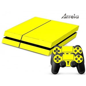 Arrela PS4 Console and Controller Decal Sticker Skin Fashionable Delicate Non-slip Surface for PlayStation 4 Yellow