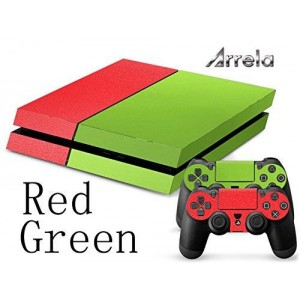 Arrela PS4 Console and Controller Decal Sticker Skin Fashionable Delicate Non-slip Surface for PlayStation 4 Red Green