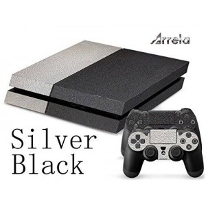 Arrela PS4 Console and Controller Decal Sticker Skin Fashionable Delicate Non-slip Surface for PlayStation 4 Silver Black