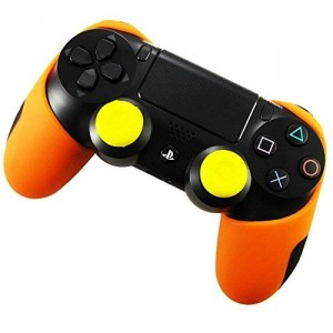Pandaren Soft Silicone Thicker Half Skin Cover for PS4 Controller Set (Orange skin X 1 + Thumb Grip X 2)