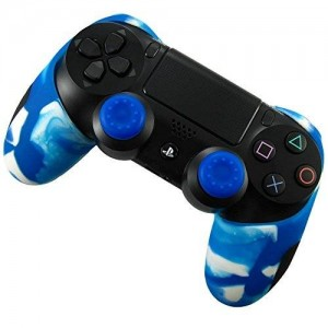 Pandaren Soft Silicone Thicker Half Skin Cover for PS4 Controller Set (Whiteblue skin X 1 + Thumb Grip X 2)