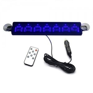 Koolertron Red 12V Car LED Programmable Message Sign Scrolling Display Board with Remote (Blue)