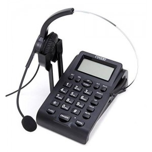 Dialpad with Headset, Coodio Corded Phone [Call Center] Telephone with Headset and Recording Cable and Tone Dial Key Pad / Redial - C777