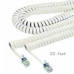 ALAZCO Phone Handset Coil Cord Land-line For Modular Telephone Plug (Choose Length and Color) (WHITE (25 Feet))