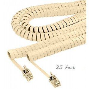 ALAZCO Phone Handset Coil Cord Land-line For Modular Telephone Plug (Choose Length and Color) (IVORY (25 Feet))