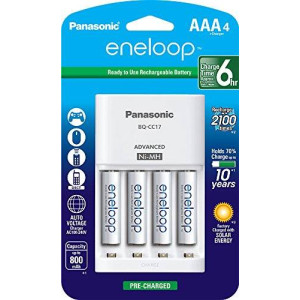 Panasonic K-KJ17M3A4BA Cell Battery Charger with eneloop AAA New 2100 Cycle Rechargeable Batteries, 4 Pack