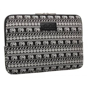 KAYOND Black Elephant Patterns Canvas Fabric 13 Inch Laptop