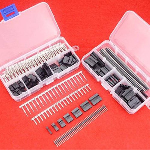 Hilitchi 345 Pcs 40 Pin 2.54mm Pitch Single Row Pin Headers,Dupont Connector Housing Female,Dupont Male/Female Pin Connector Kit
