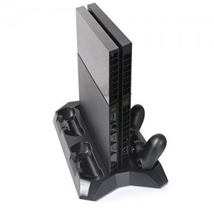 Okca PS4 Playstation 4 Console Vertical Stand Dual Cooler Fans + FREE Four Charger Ports Charging Station for Four PS4 DS4 Controllers