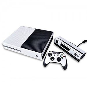 HDE Xbox One Console Sticker Decal Protective Xbone Skin Carbon Fiber Vinyl Cover for Microsoft XboxOne (White)