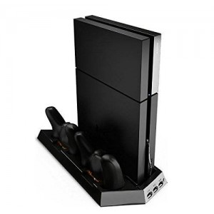 Third and Long Playstation 4 Vertical Stand with Dual Cooling Fans with Charging Station and USB Hub
