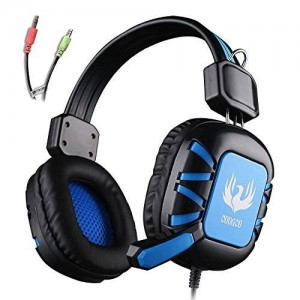 AFUNTA G1 Stereo Headset 3.5mm plug Over Ear Wired Stereo Headset Gaming Headphone Bass Noise Canceling with Microphone for PC Gaming - Black + Blue