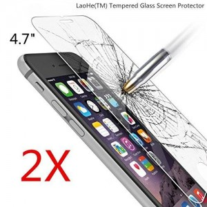 iPhone 6s Screen Protector, LaoHe(TM) Premium Tempered Glass Screen Protector Film for Apple iPhone 6 and iPhone 6s Newest Model 4.7-(2Pack)