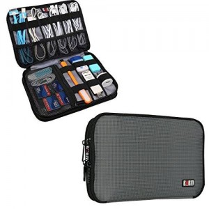 BUBM Double Layer Travel Gear Organizer / Electronics Accessories Bag (Medium, Gray)